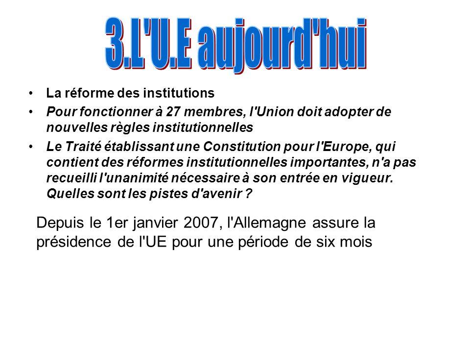 3.L U.E aujourd hui La réforme des institutions. Pour fonctionner à 27 membres, l Union doit adopter de nouvelles règles institutionnelles.