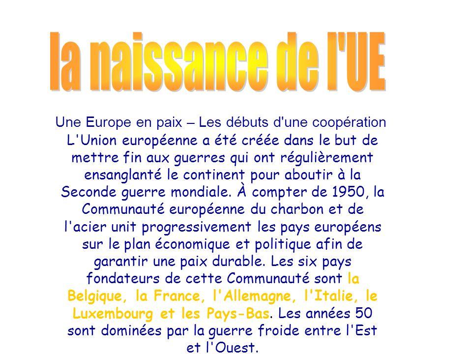 la naissance de l UE Une Europe en paix – Les débuts d une coopération