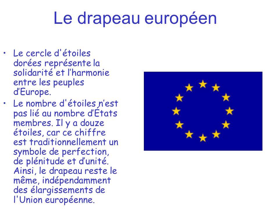 Le drapeau européenLe cercle d étoiles dorées représente la solidarité et l'harmonie entre les peuples d'Europe.