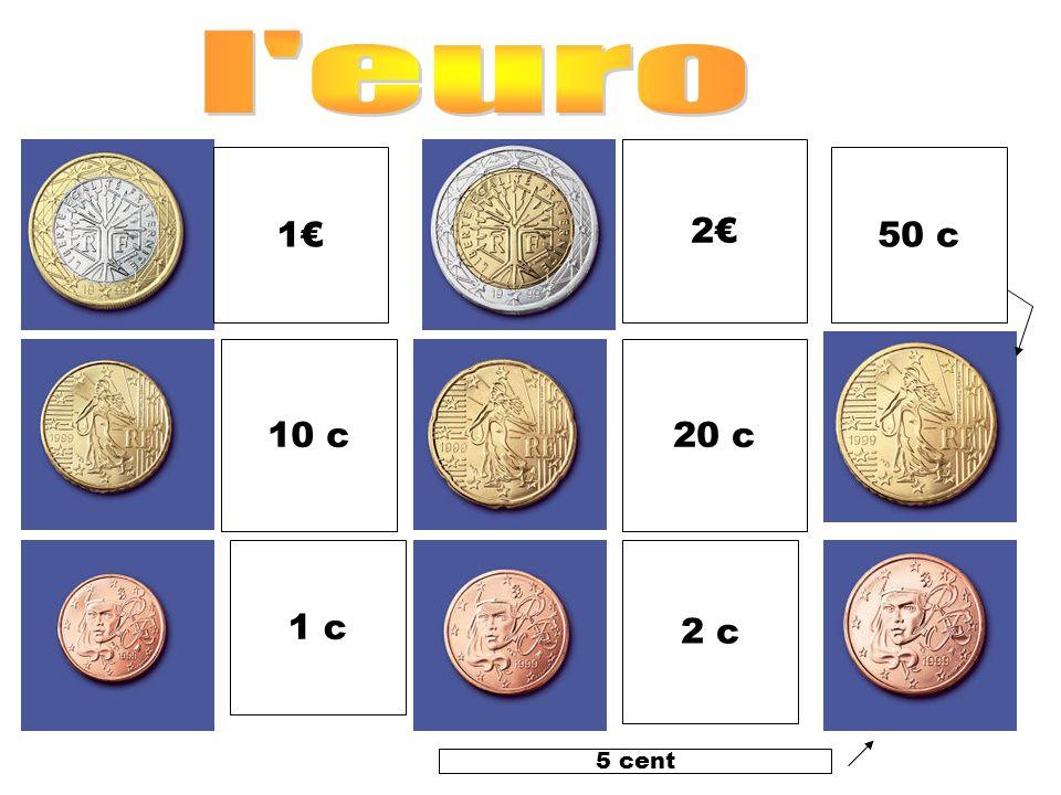 l euro 2€ 1€ 50 c 10 c 20 c 1 c 2 c 5 cent