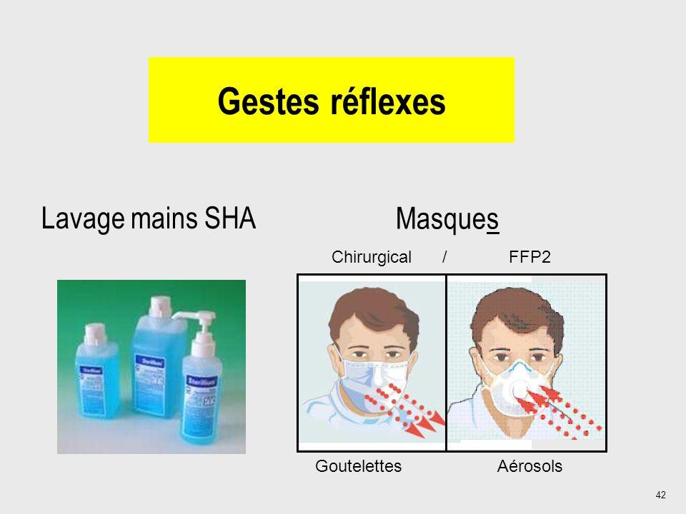 Gestes réflexes Lavage mains SHA Masques Chirurgical / FFP2