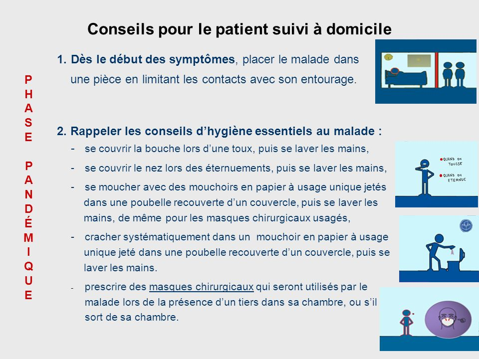 Conseils pour le patient suivi à domicile