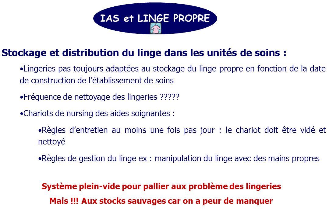Stockage et distribution du linge dans les unités de soins :