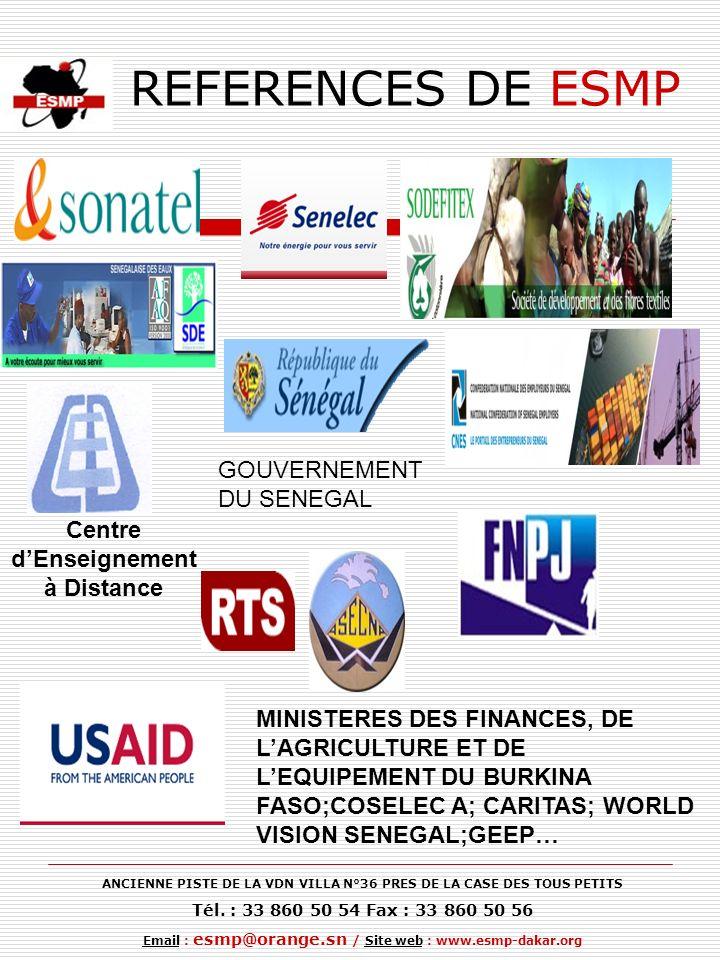 REFERENCES DE ESMP GOUVERNEMENT DU SENEGAL