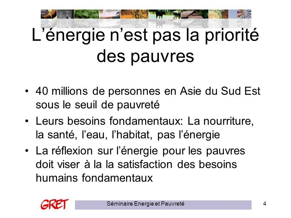 L'énergie n'est pas la priorité des pauvres