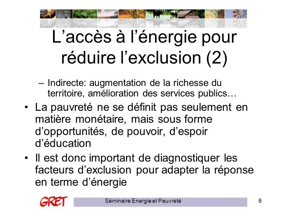 L'accès à l'énergie pour réduire l'exclusion (2)