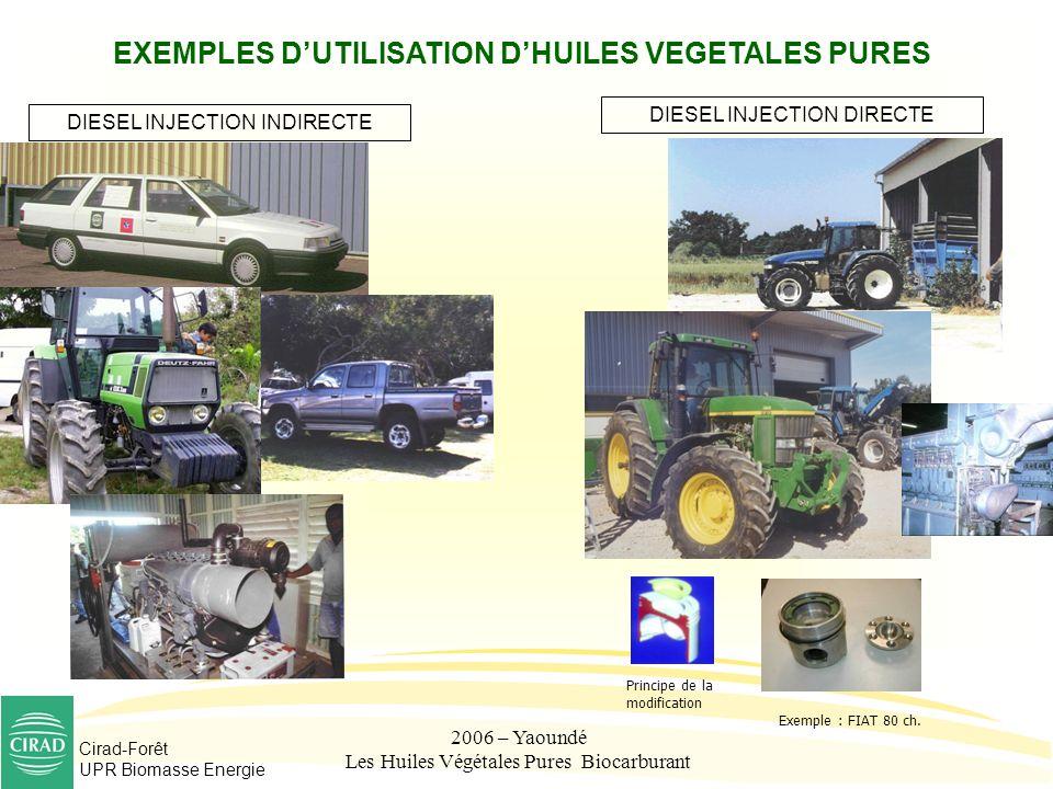 EXEMPLES D'UTILISATION D'HUILES VEGETALES PURES