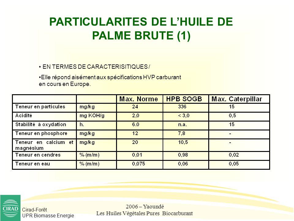 PARTICULARITES DE L'HUILE DE PALME BRUTE (1)