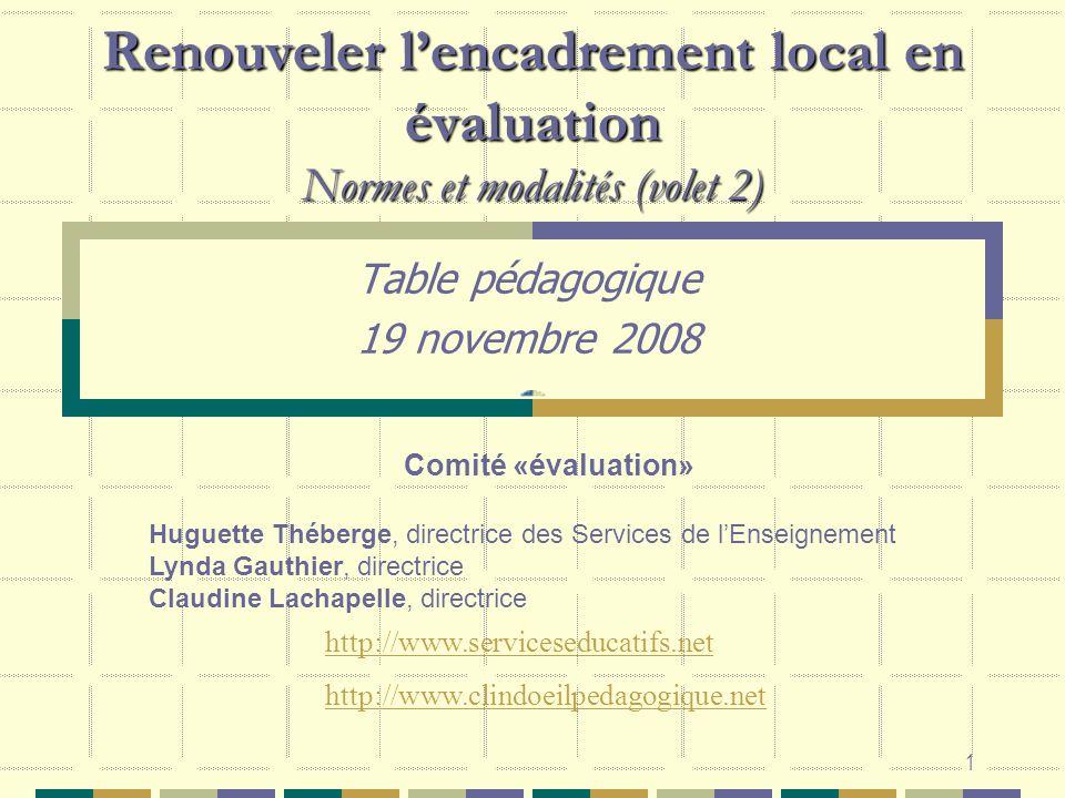 Table pédagogique 19 novembre 2008