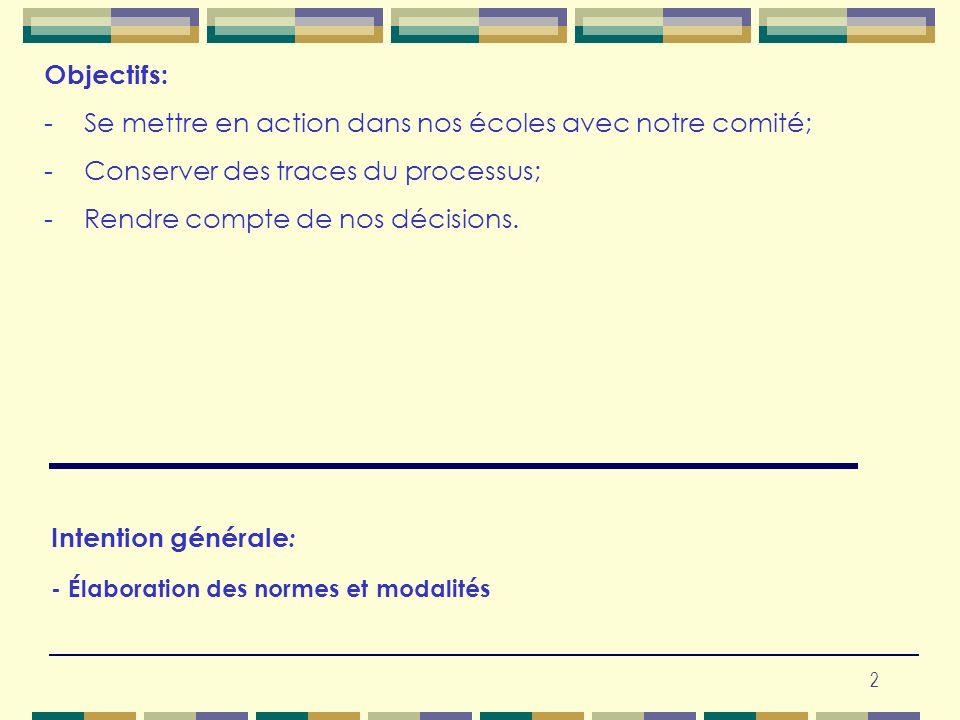 Intention générale: - Élaboration des normes et modalités