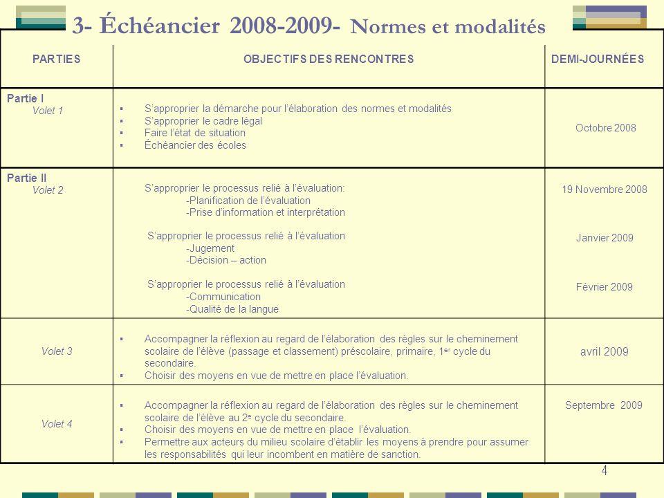 3- Échéancier 2008-2009- Normes et modalités
