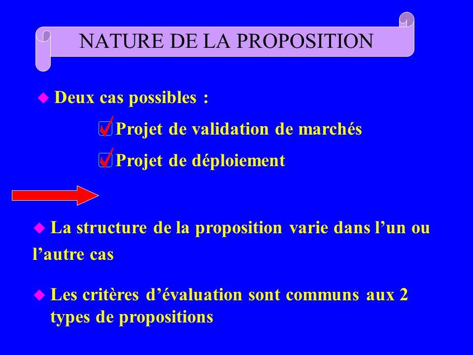 NATURE DE LA PROPOSITION
