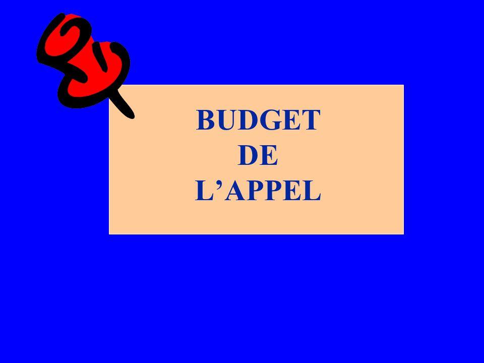 BUDGET DE L'APPEL