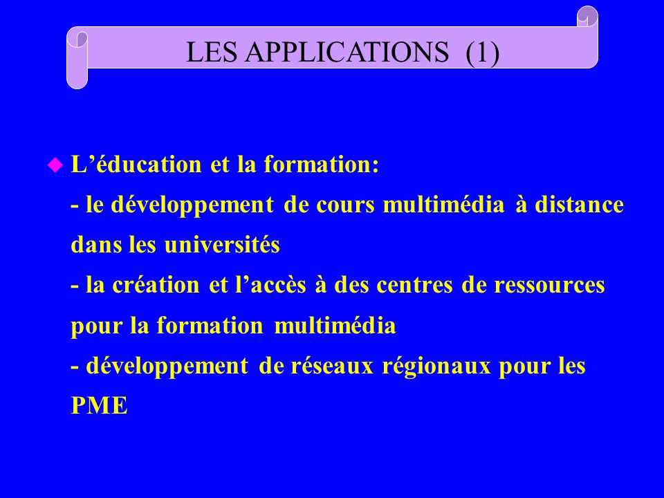 LES APPLICATIONS (1)