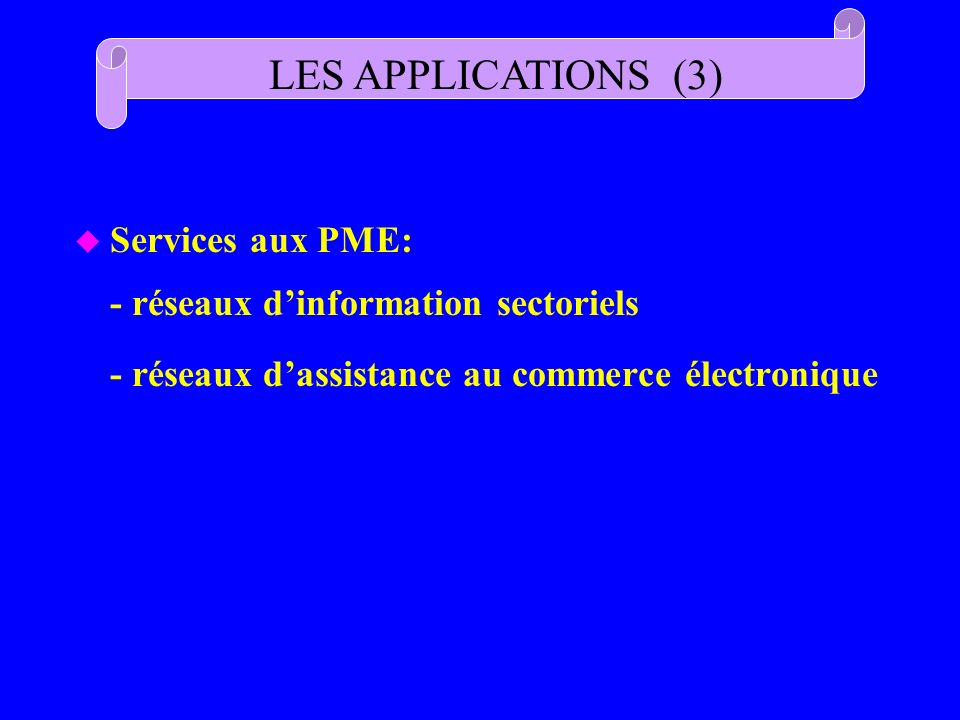 LES APPLICATIONS (3) Services aux PME: - réseaux d'information sectoriels.