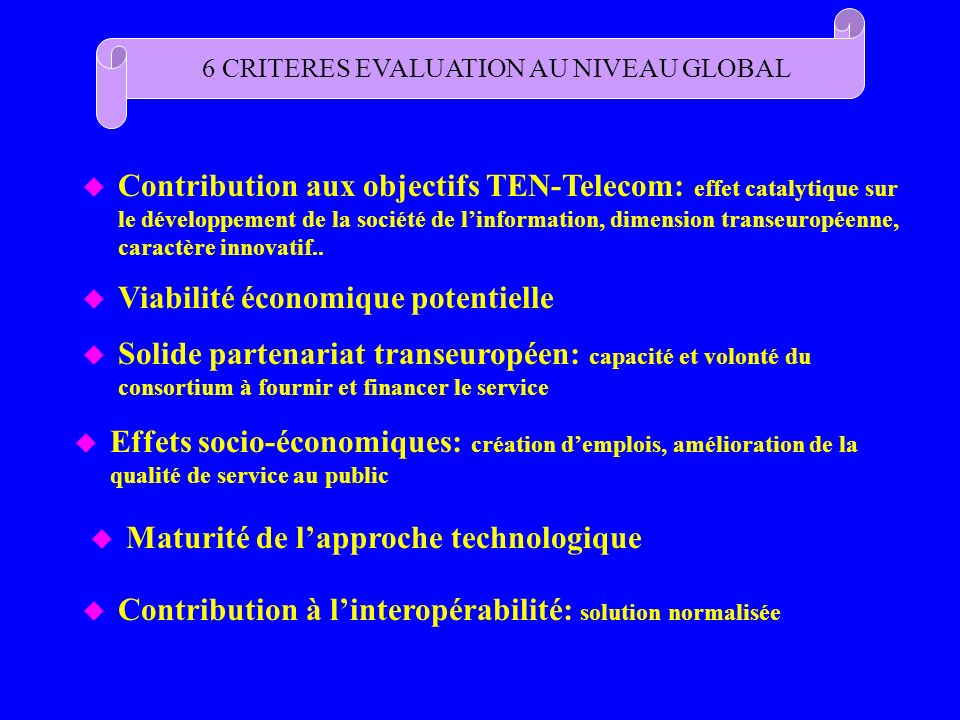 6 CRITERES EVALUATION AU NIVEAU GLOBAL