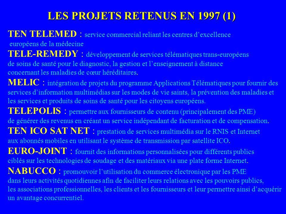 LES PROJETS RETENUS EN 1997 (1)
