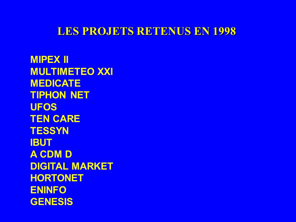 LES PROJETS RETENUS EN 1998 MIPEX II MULTIMETEO XXI MEDICATE