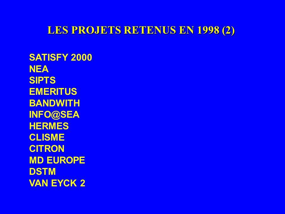 LES PROJETS RETENUS EN 1998 (2)