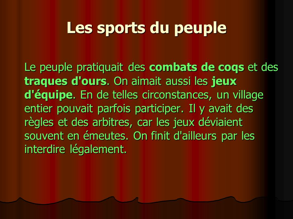Les sports du peuple