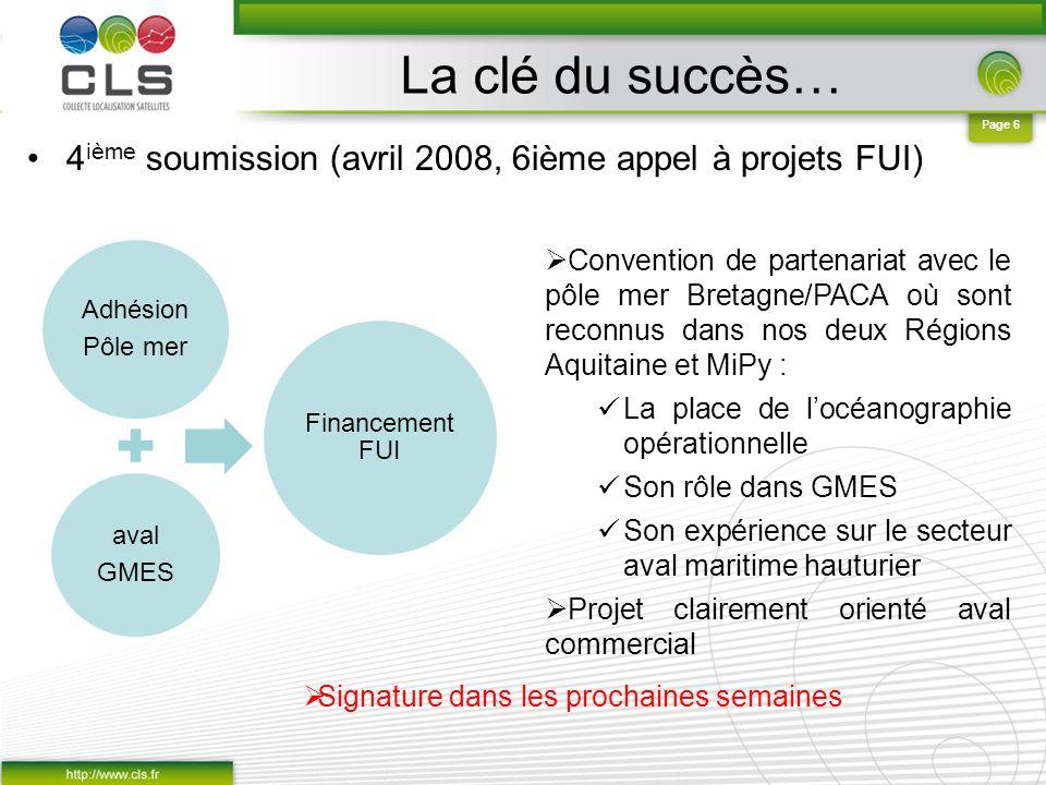 La clé du succès… 4ième soumission (avril 2008, 6ième appel à projets FUI) Adhésion. Pôle mer. aval.