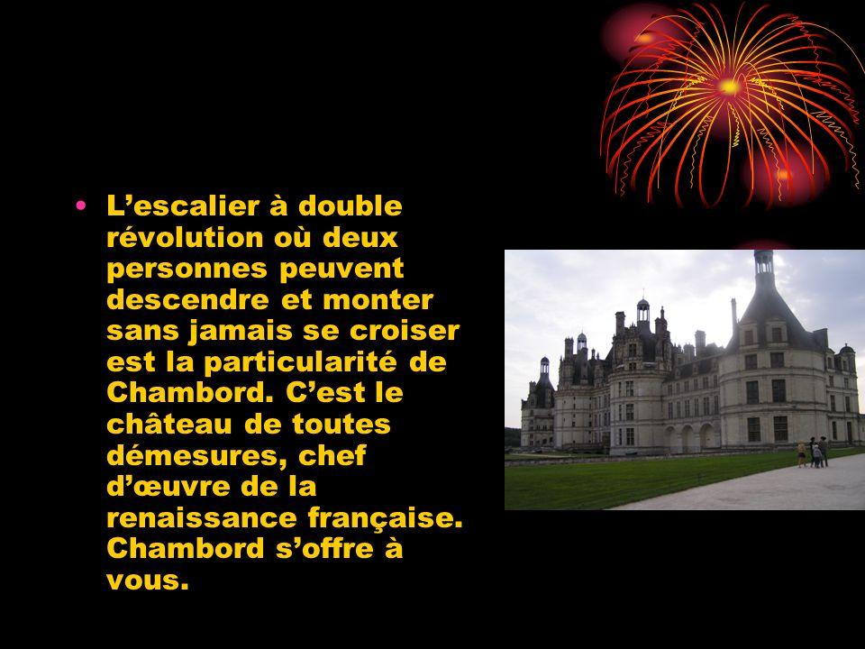 L'escalier à double révolution où deux personnes peuvent descendre et monter sans jamais se croiser est la particularité de Chambord.