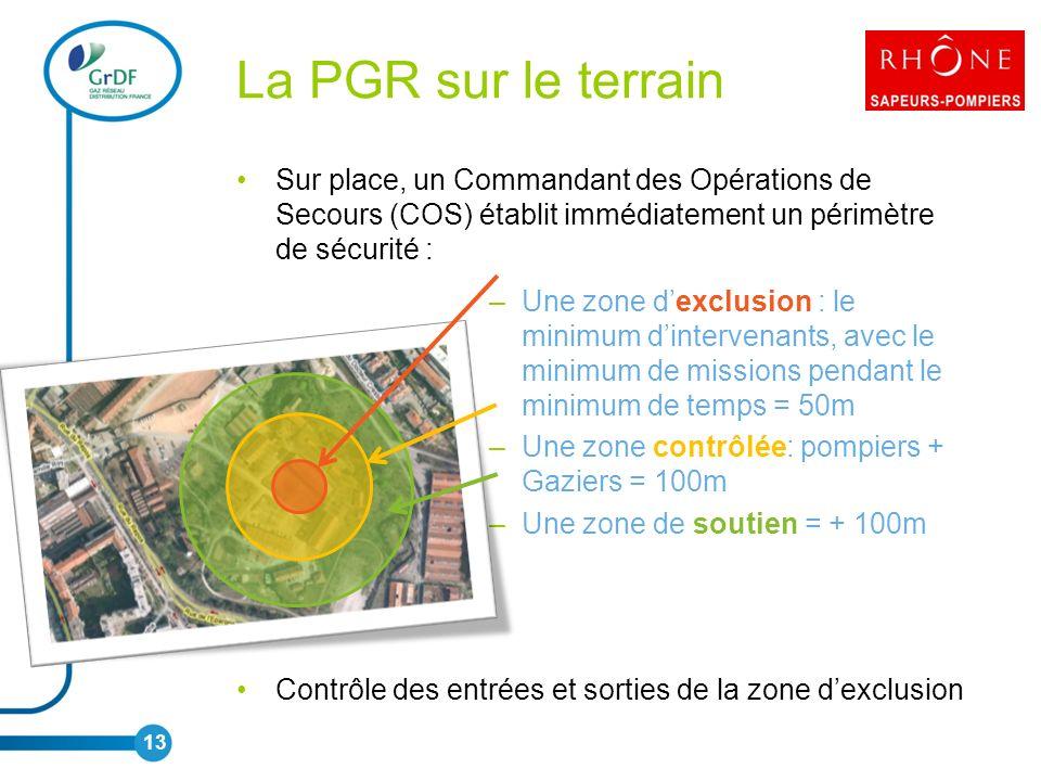 La PGR sur le terrain Sur place, un Commandant des Opérations de Secours (COS) établit immédiatement un périmètre de sécurité :