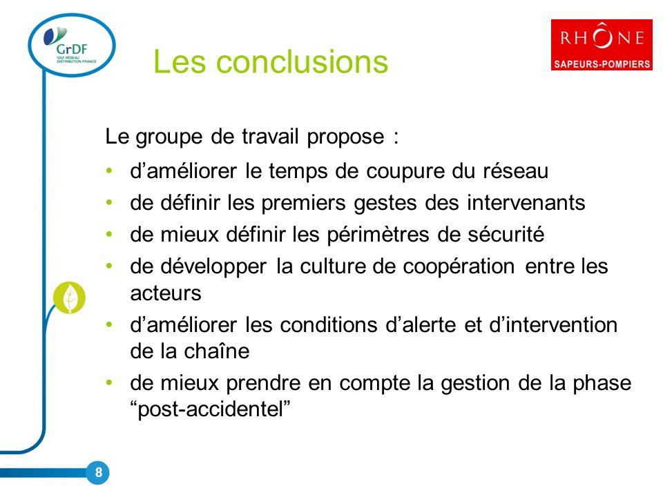 Les conclusions Le groupe de travail propose :