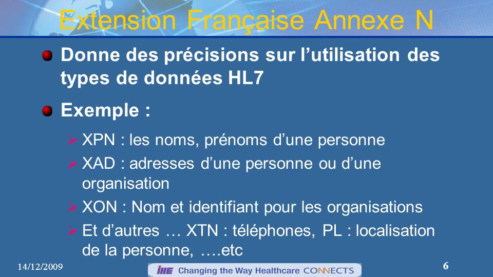 Extension Française Annexe N