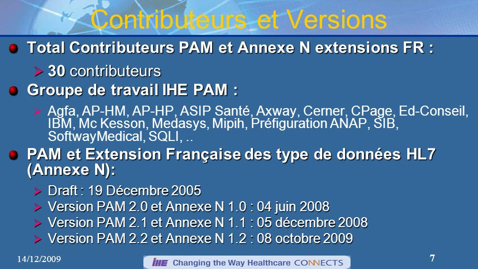 Contributeurs et Versions