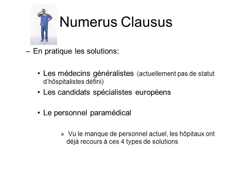 Numerus Clausus En pratique les solutions: