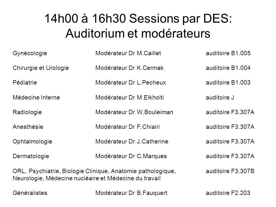 14h00 à 16h30 Sessions par DES: Auditorium et modérateurs