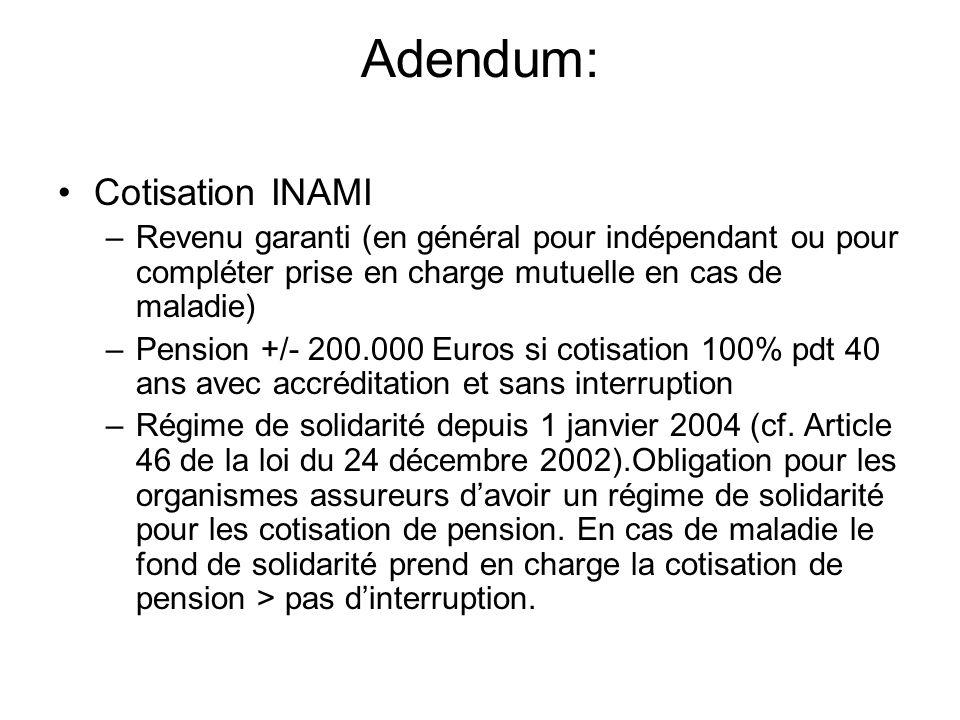 Adendum: Cotisation INAMI