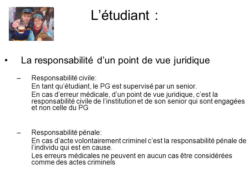 L'étudiant : La responsabilité d'un point de vue juridique