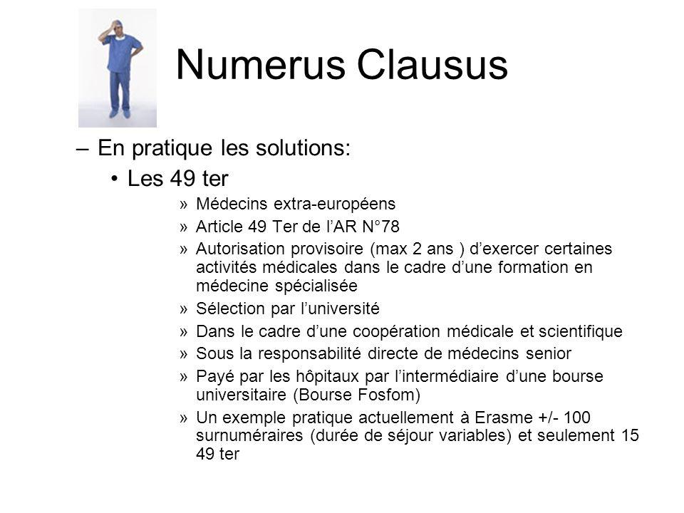Numerus Clausus En pratique les solutions: Les 49 ter