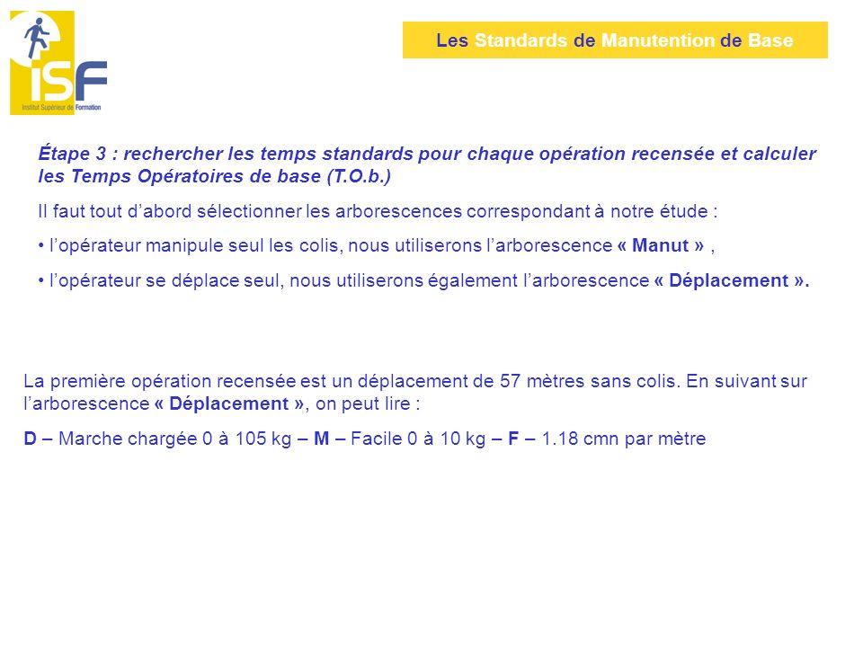Étape 3 : rechercher les temps standards pour chaque opération recensée et calculer les Temps Opératoires de base (T.O.b.)