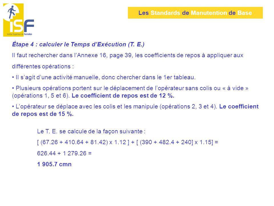 Étape 4 : calculer le Temps d'Exécution (T. E.)