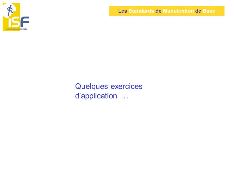 Quelques exercices d'application …