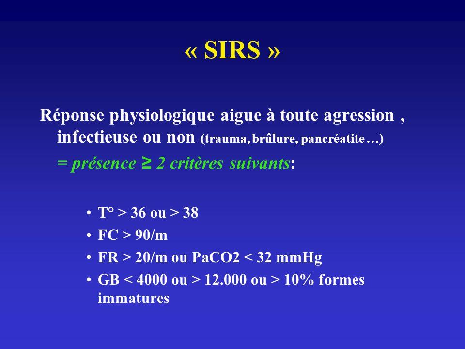« SIRS » Réponse physiologique aigue à toute agression , infectieuse ou non (trauma, brûlure, pancréatite …)