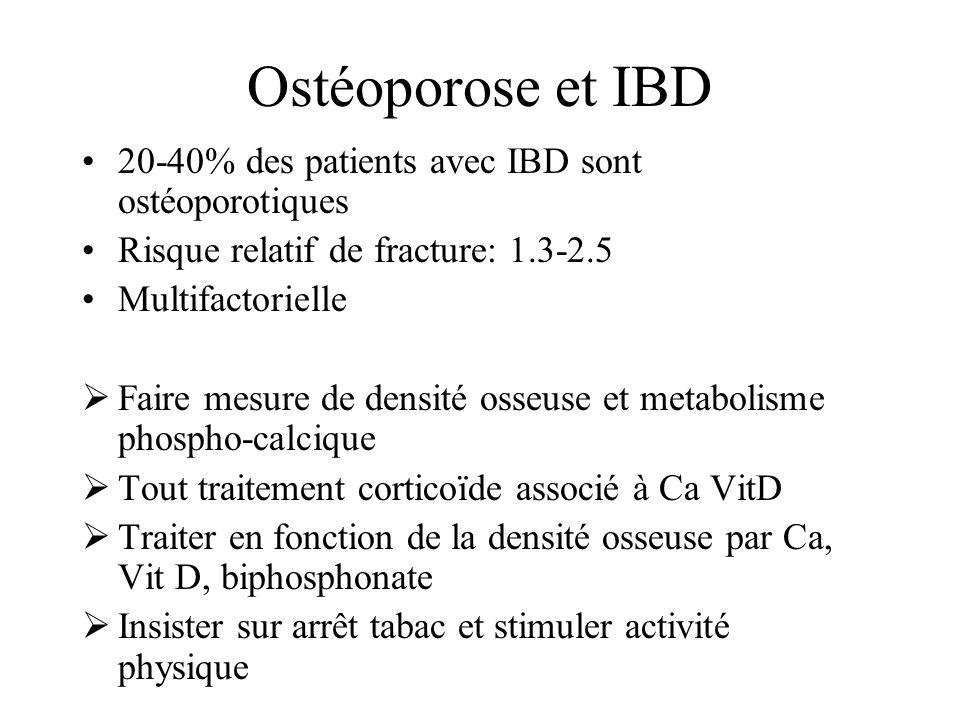 Ostéoporose et IBD 20-40% des patients avec IBD sont ostéoporotiques