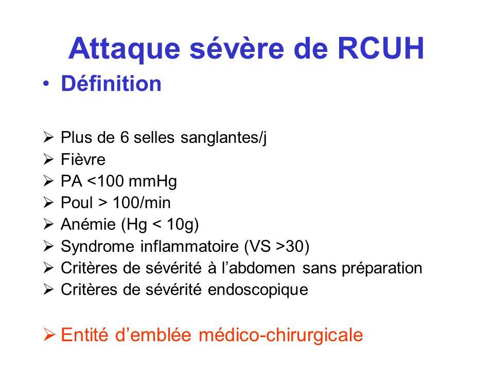 Attaque sévère de RCUH Définition Entité d'emblée médico-chirurgicale