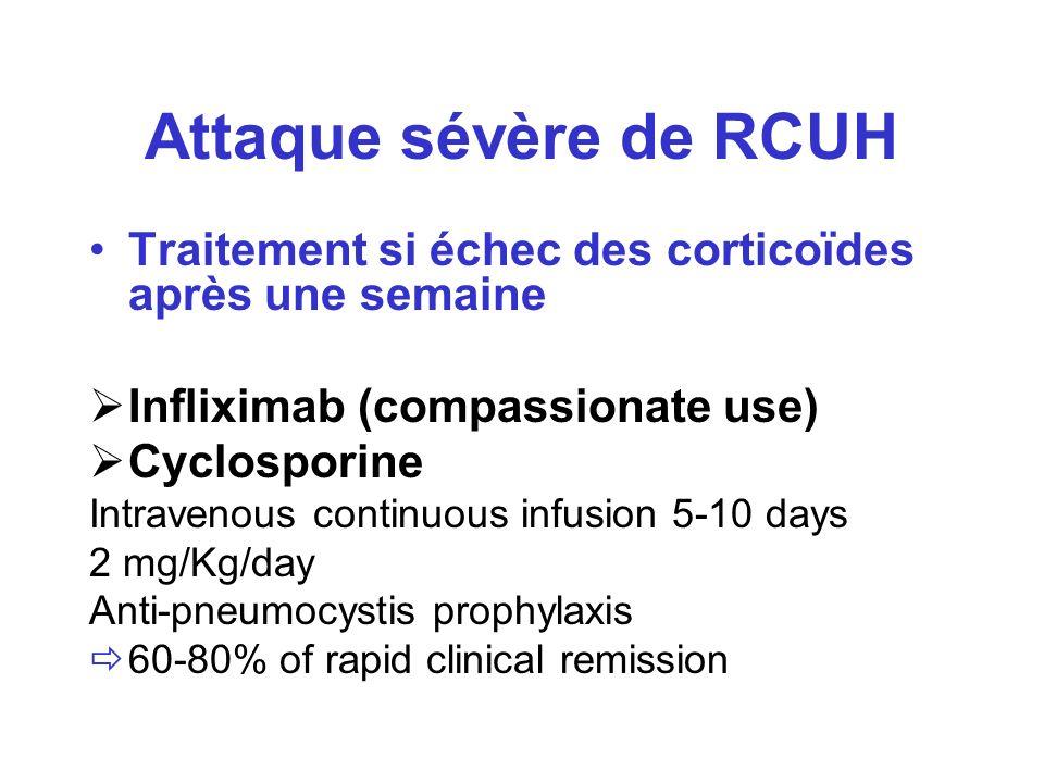Attaque sévère de RCUH Traitement si échec des corticoïdes après une semaine. Infliximab (compassionate use)