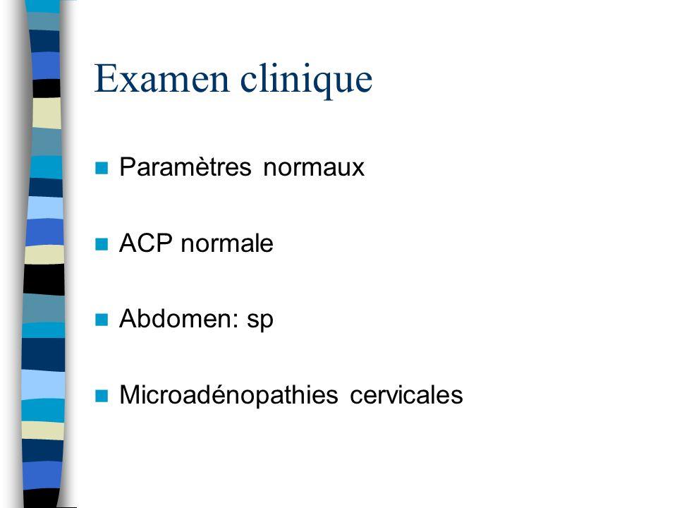 Examen clinique Paramètres normaux ACP normale Abdomen: sp