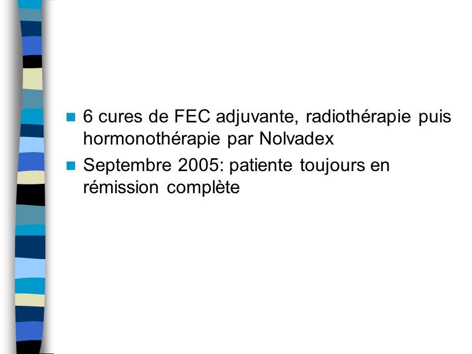 6 cures de FEC adjuvante, radiothérapie puis hormonothérapie par Nolvadex