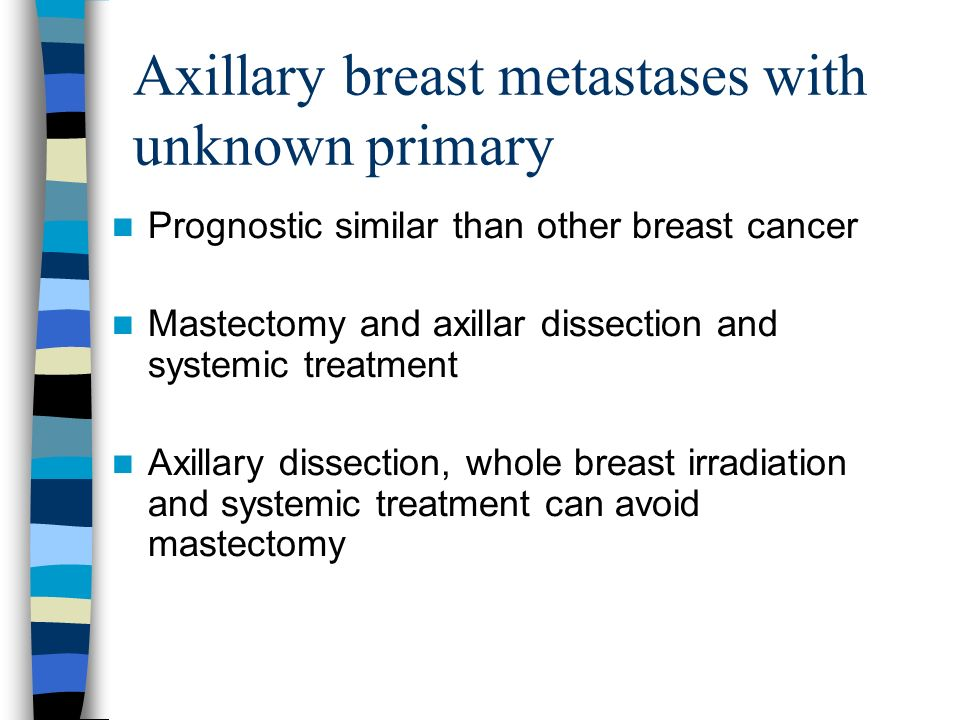 Axillary breast metastases with unknown primary