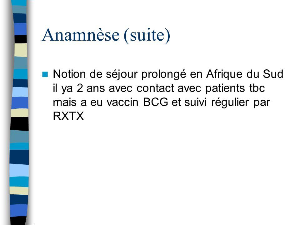 Anamnèse (suite)