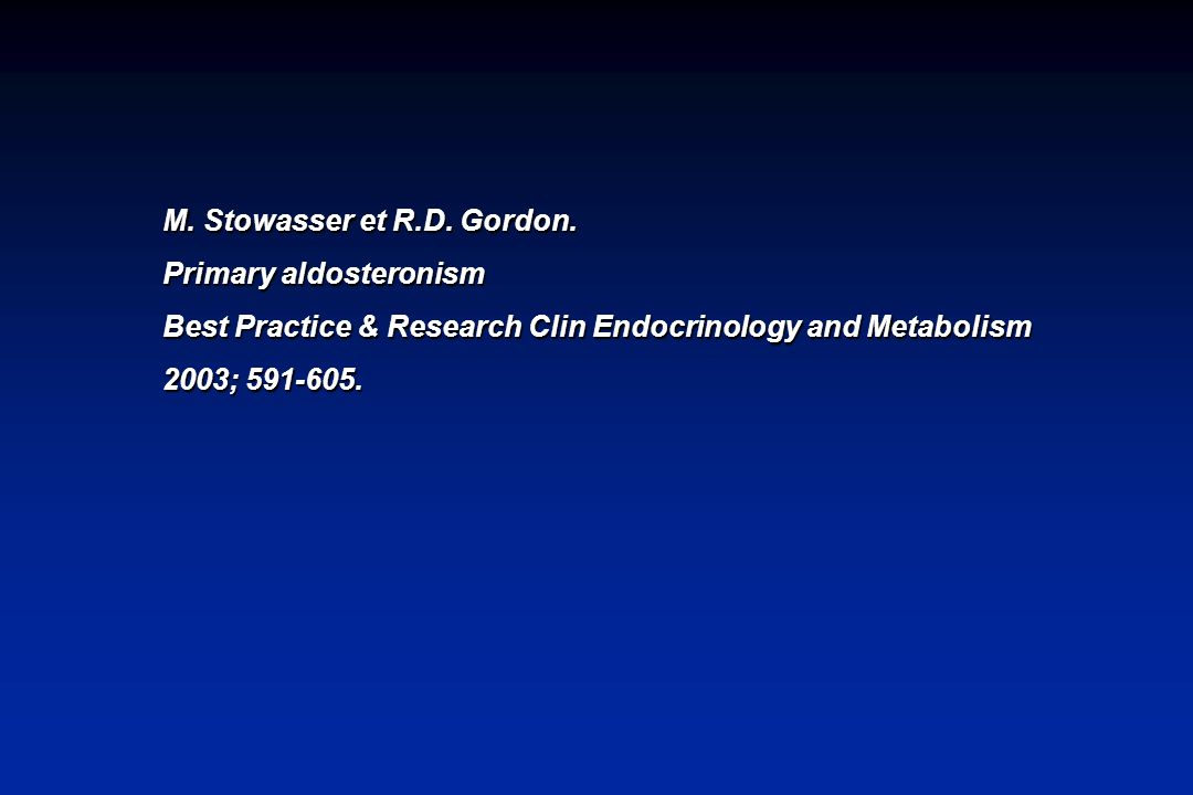 M. Stowasser et R.D. Gordon.