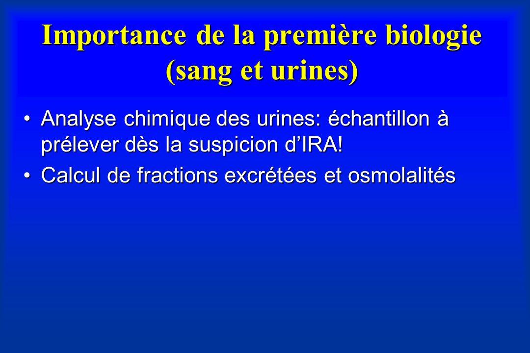 Importance de la première biologie (sang et urines)