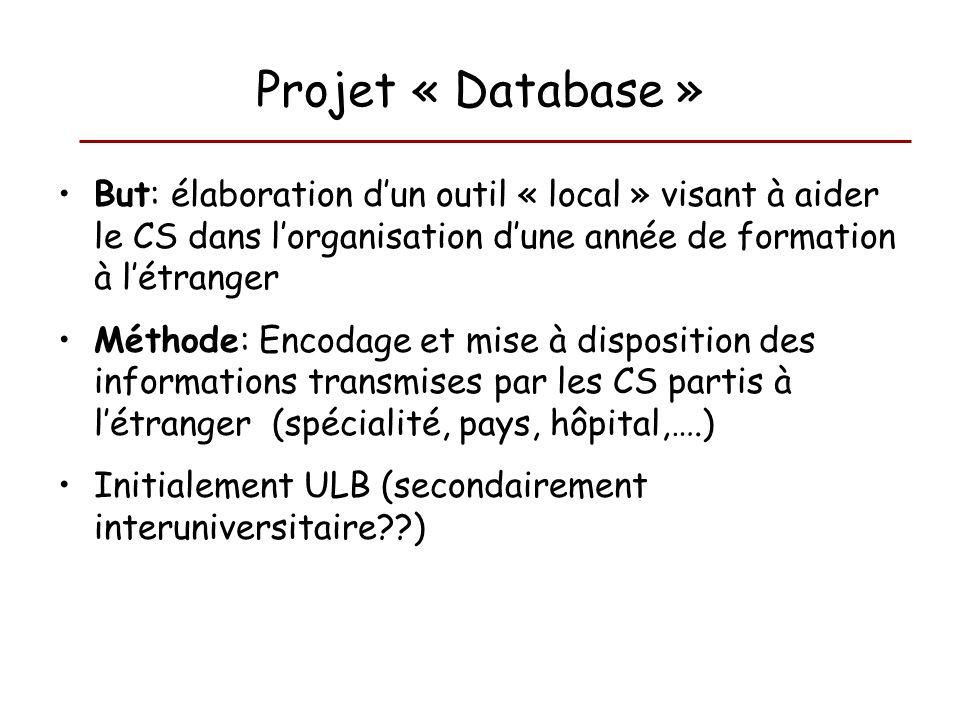 Projet « Database » But: élaboration d'un outil « local » visant à aider le CS dans l'organisation d'une année de formation à l'étranger.