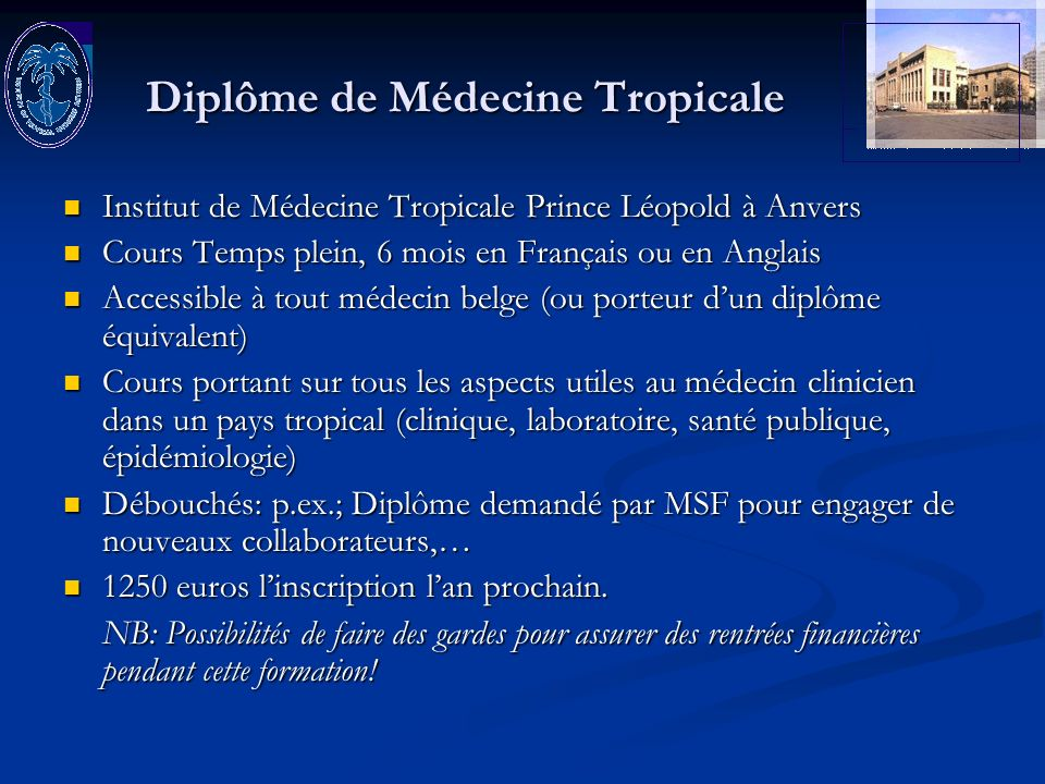 Diplôme de Médecine Tropicale